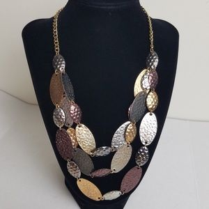 Multistrand Pebbled Disc Statement Necklace